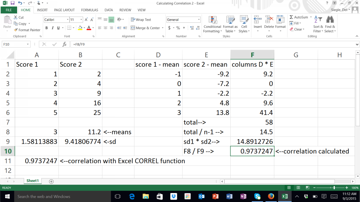 calculations for correlation coefficient