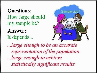How large should my sample be? Large enough to be an accurate representation of the populaton and large enough to achieve statistically significant results